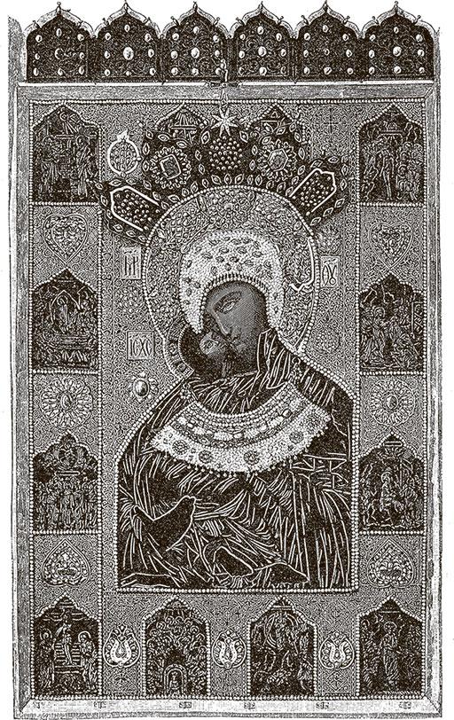 Владимирская чудотворная икона Божией Матери в окладе